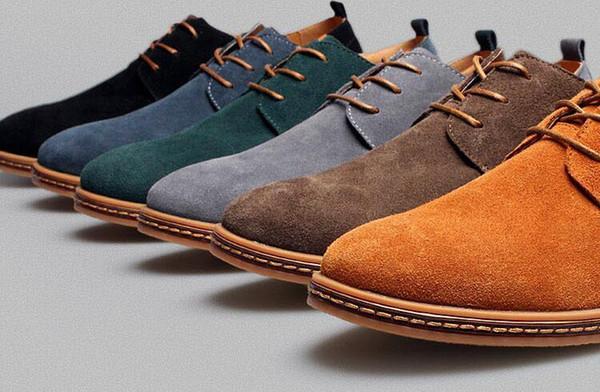 Mens Casual Vestido Formal Oxfords Sapatos Da Ponta Da Aleta Camurça Flats de Couro Lace Up Tamanho Grande Sapatos Britânicos Moda Vestido de Festa Sapatos Frete Grátis