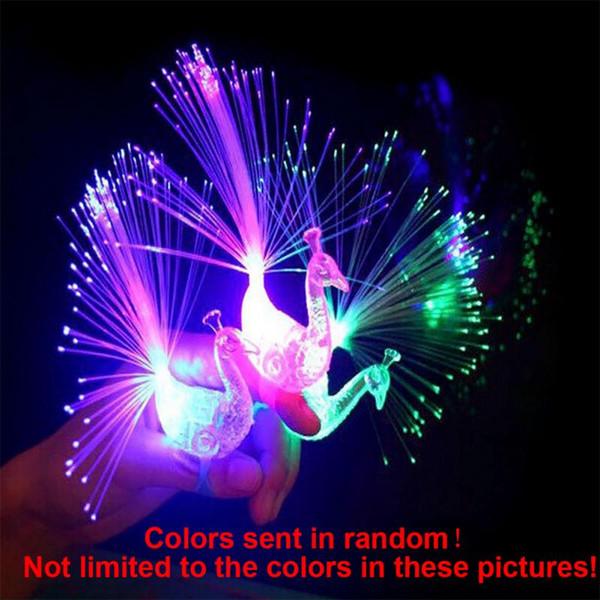 anneau de code de balayage créatif de lumière de doigt de paon lumineux LED anneau de l'anneau pour enfants petits cadeaux Halloween 50 / paquet