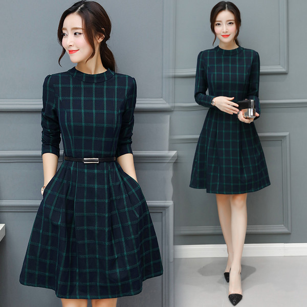 2018 Autunno Inverno Plus Size New Plaid Cotton Midi Abiti Donna Elegante coreano aderente tshirt Dress Party manica lunga Vestidos
