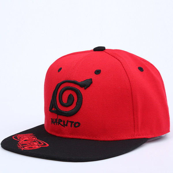 Wholesale-New Unisex Anime Lovers Naruto Outdoor Snapback Cap Embroidery Snapback Fashion Wood Leaves Village Hats For Men & Women Cap