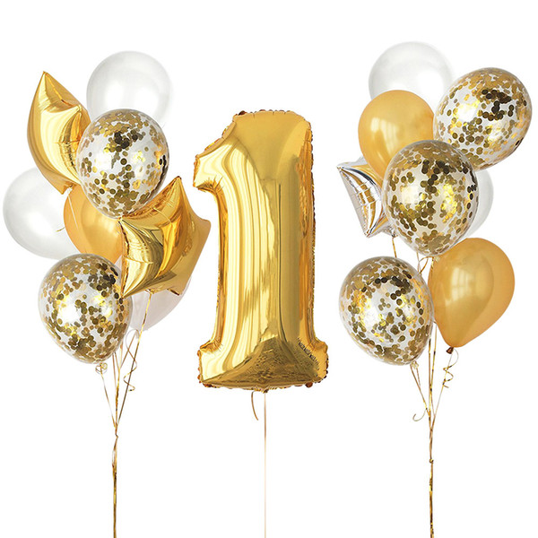 ZLJQ 29 Pcs Gold whit 1st Birthday Baby Shower Party Decoration Confetti Balloon Number ONE #1 Gold Silver Star Foil Balloon