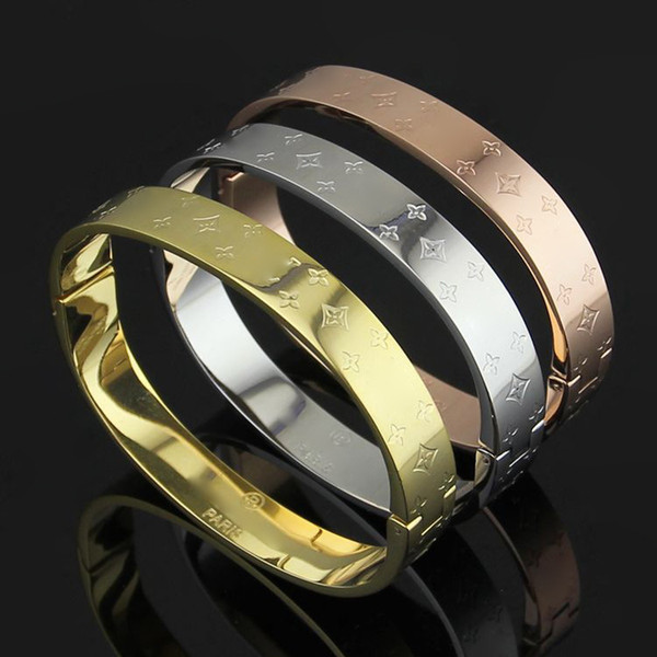 Rose Gold four leafs flower printed square bangle for Women and men Famous Brand style Top quality stainless steel rivets Bracelet jewelry