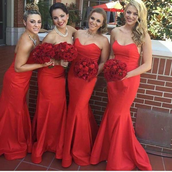 Zarif Uzun Kırmızı Mermaid Gelinlik Modelleri Basit Ucuz Tafta Kat Uzunluk Örgün Düğün Parti Elbise 100 robe longue
