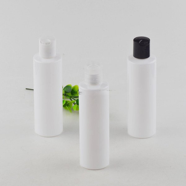 50pcs 200ml Empty white Colored Plastic Cosmetics Lotion Bottle With Disc Screw Lid Shampoo PET Containers , Cosmetic Packaging