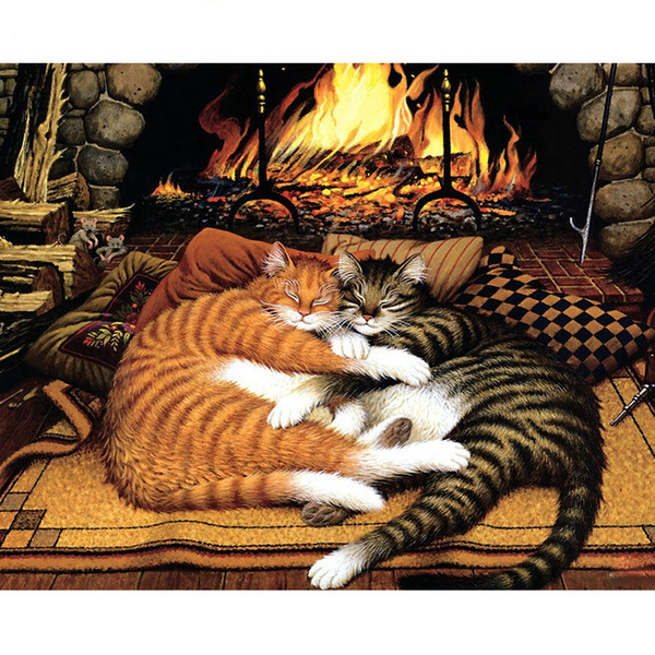 Cat Lovers Diy Painting By Number Kit Animals Handpainted Oil Painting Modern Wall Art Picture For Home Decor 40x50cm
