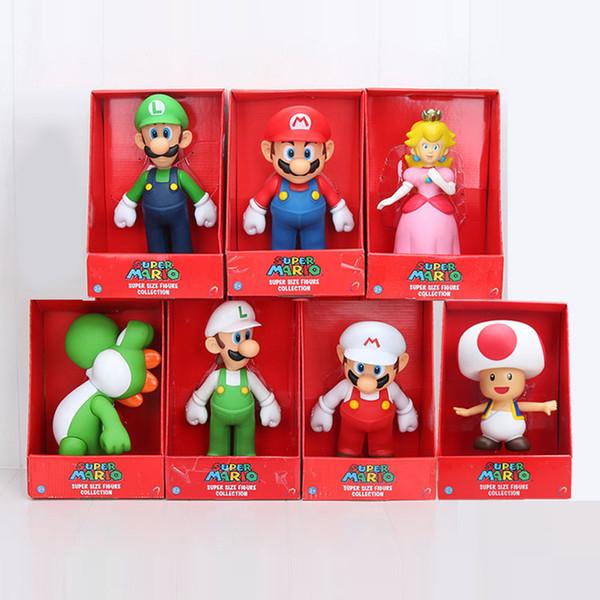 23cm Super Mario Bros Luigi Mario Yoshi toad Mushroom Mario peach princess PVC Action Figures toy