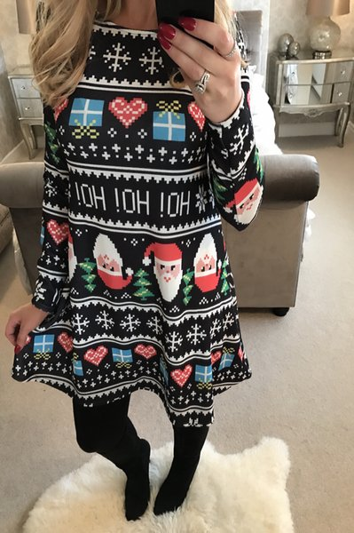 Wholesale Gilrs Christmas dress Santa Claus snowflake mosaic long sleeved printed skirt for woman autumn winter