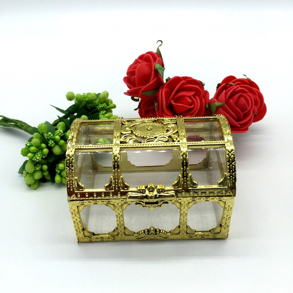 Free shipping top grade golden silvery transparent plastic treasure chest wedding candy box gift boxes wen5037