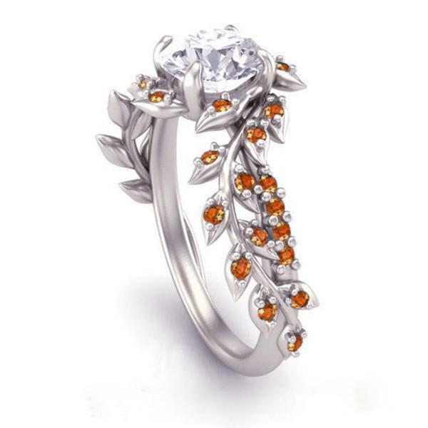 Euramerican Fashion Princess Engagement Ring Romantic Red Zircon Flower Rings for Women Wedding Anniversary Jewelry gift anillos