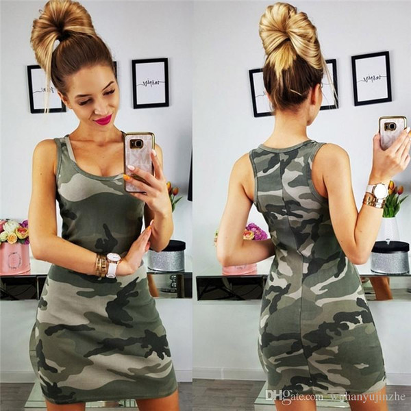 Womens Summer Camo Strap Dress Sleeveless Sexy bodycon Mini Dresses Camouflage Print Short Sheath Dress DH130