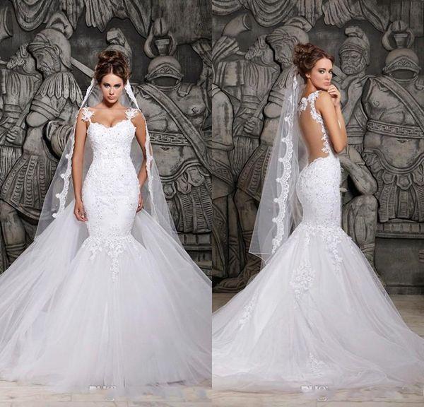 top popular Cheap In Stock Berta Sexy Sheer Back Mermaid Wedding Dresses Spaghetti Straps Lace Appliqued Bridal Gown Saudi Arabia Vestidos De Noiva 2019