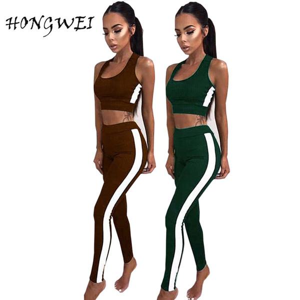 2 Piece Set Tracksuit Women Track Suits Sexy Sleeveless Short Vest and Legging Pants for Sportwear Women's Crop Top + Pants Set