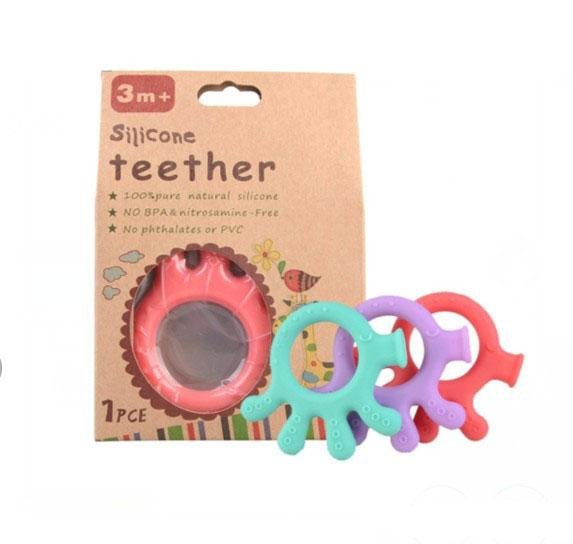 baby cartoon silicone palm teether teething toys BPA free natural organic freezer safe teether set top quality