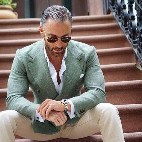 2018 Latest Coat Pant Designs light green double-breasted peaked lapel tuxedos slim fit smart casual street summer jacket+pants