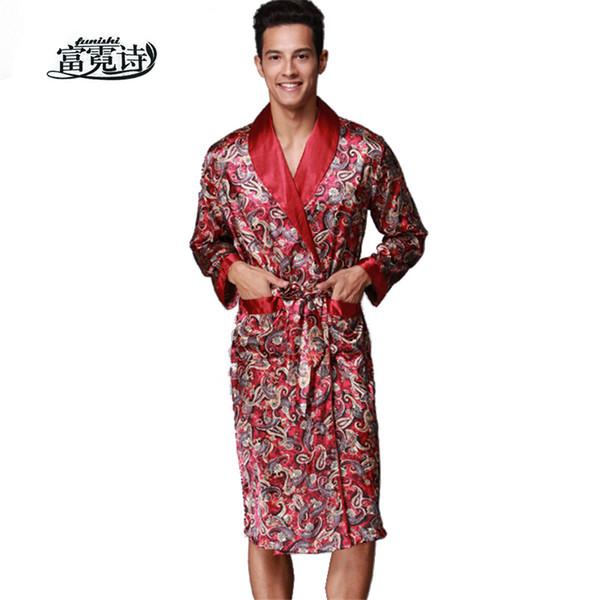 Acheter Sexy Satin V Cou Robe Faux Soie Spa Manches Longues Maison Kimono Peignoir Homme Vêtements De Nuit Vêtements De Nuit Mode Dressing Robe De