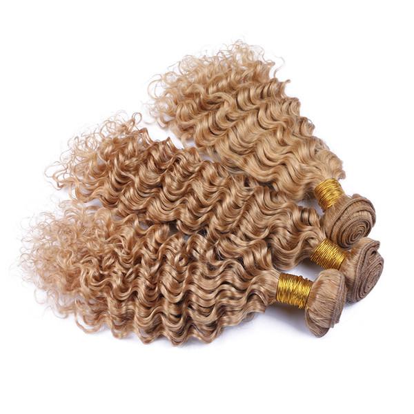 9A Virgin Peruvian Honey Blonde Human Hair Weave Bundles 3Pcs #27 Light Brown Human Hair Deep Wave Bundle Deals Deep Wavy Double Wefts