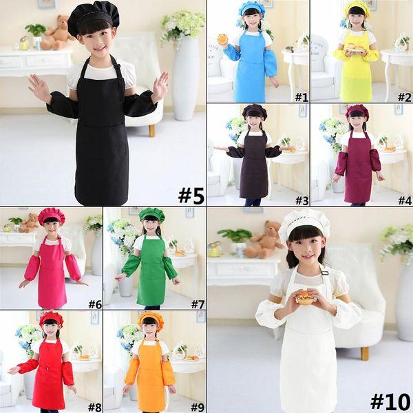 top popular Kids Aprons Pocket Craft Cooking Baking Art Painting Kids Kitchen Dining Bib Children Aprons Kids Aprons 10 Colors H0208 2020