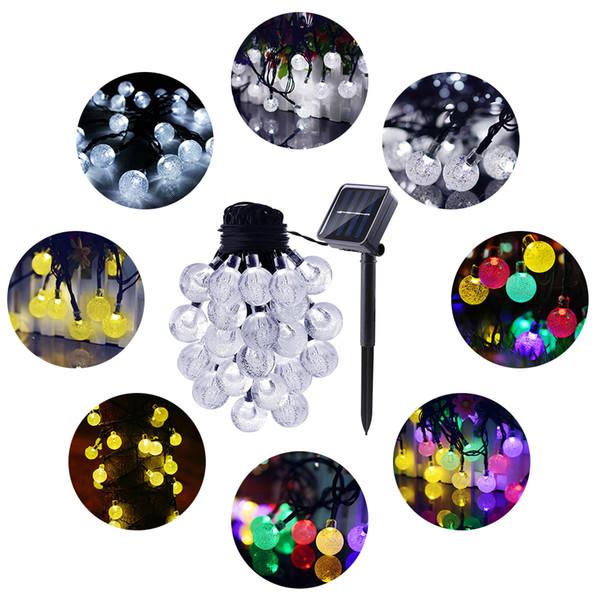 30LED 8 luci della stringa della sfera di cristallo illumina la luce leggiadramente alimentata solare per la decorazione dell'interno all'aperto del festival di festa di nozze