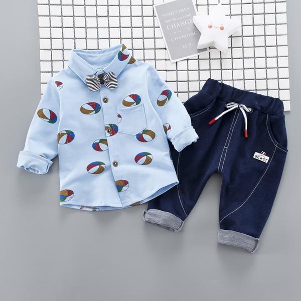 Baby boy clothes 2018 Autumn new boy printing football long sleeve shirt+pants two-piece set