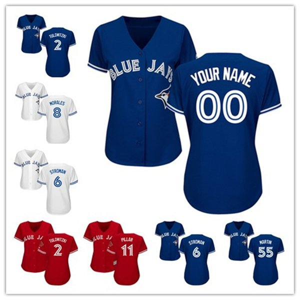 brand new bee7d 56cdb 2018 Womens Custom Toronto Blue Jays Marcus Stroman Kevin Pillar Russell  Martin Josh Donaldson White Red Blue 2018 Baseball Player Jerseys From  Fsclz, ...