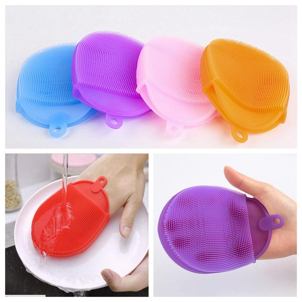 Silicone Dish Bowl Cleaning Brushes Scouring Pad Pot Pan Brushes Cleaner Kitchen Accessories Dish Washing Brush Kitchen Tool CNY511