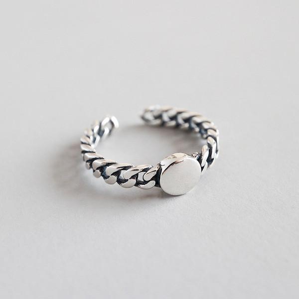 Jsmpfy 925 anelli d'argento intrecciati ritorti per le donne semplice antico rotondo anello regolabile gioielleria fine regali