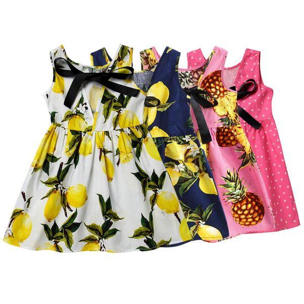 Crianças Adolescentes Mangas Vestido De Algodão Roupas de Verão Bebê Menina Padrão De Impressão De Frutas Vestido Para A Princesa de Aniversário Venda Quente