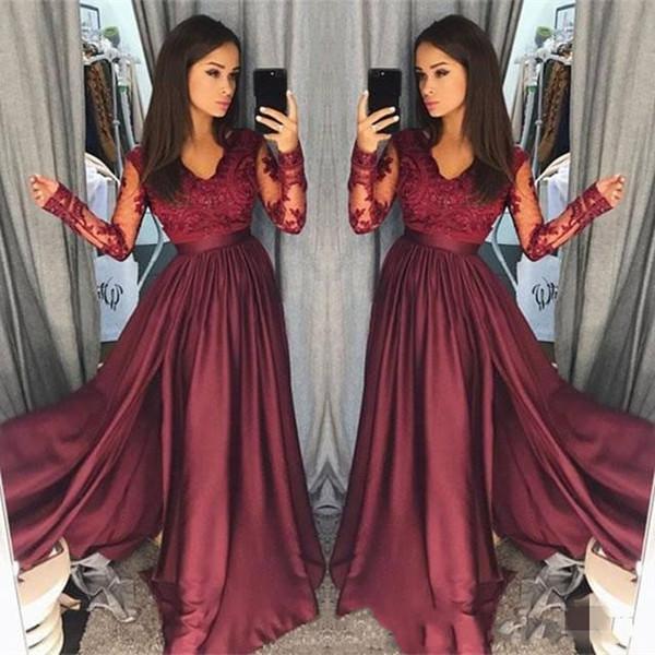 2019 S pring Vintage Bir Çizgi Saten Gelinlik Modelleri Uzun kollu V Boyun Dantel Üst Kat Uzunluk Elbise Akşam Parti Giyim robe de mariée