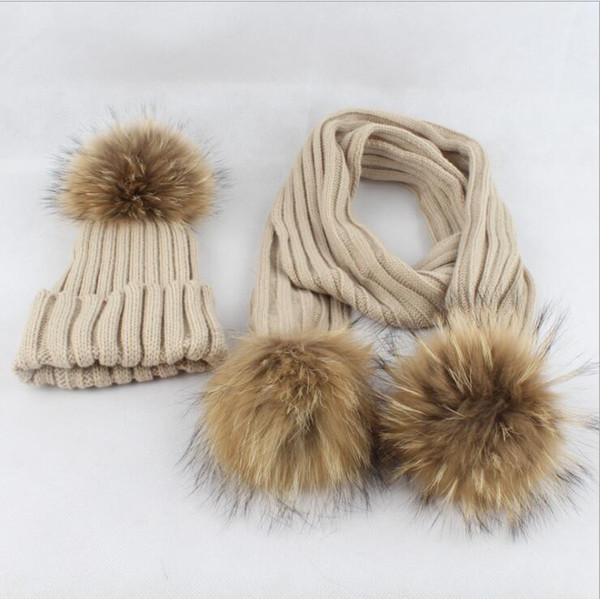 8 color baby kids Pom Pom Beanie Warm Knitted Bobble Fur Pompom Hat and Scarf Set Children Pompon Winter Hat Skullies Scarf KKA5809