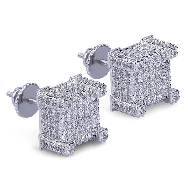 Box CZ Micro Pave Gold Silver Bling Bling Earrings Hip Hop Iced Out Big Square Flat Screen Block Screw Back Stud Earring For Men and Women