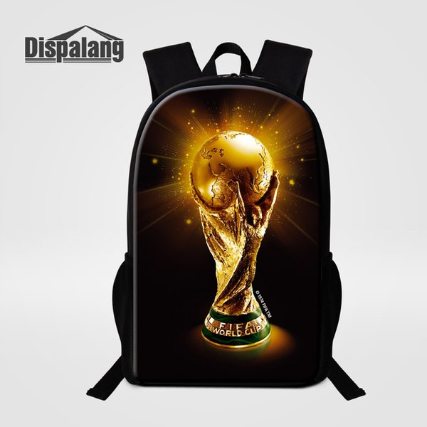 Customize Design School Bags For Boys 3D Printing Footballs Basketballs Backpack For Primary Students Trophy Cool Child Rucksack Y18100805