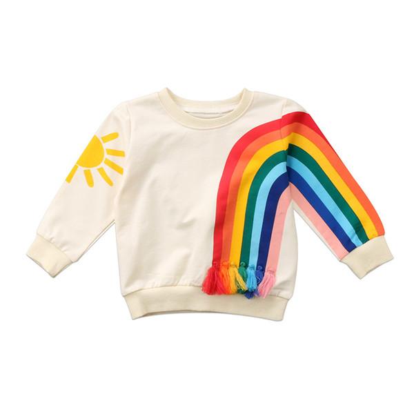 1-6T Hot sell Baby Kid Girls Sweatshirt Rainbow Sunshine Long Sleeve Tops Blouse Sweats Sweatshirt Cardigan Girls Clothing