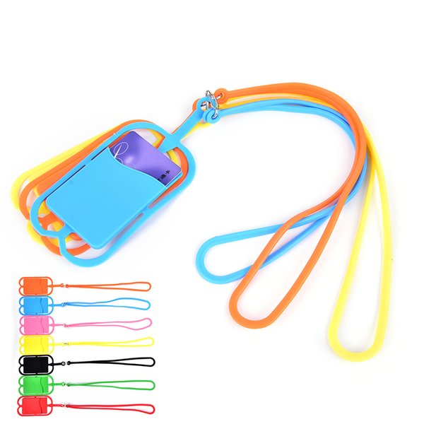 Mixed colors Universal Anti-Lost Hand Grip Strap lanyard with id card badge holder silicone lanyard cell phone Pocket for all smartphone