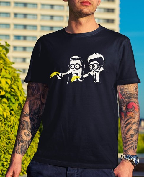 Mens Pulp Minions T-Shirt - Pulp Fiction Funny Gift Novelty Geek Movie Dad Nerd Short Sleeves Cotton Fashion T Shirt Free Shipping