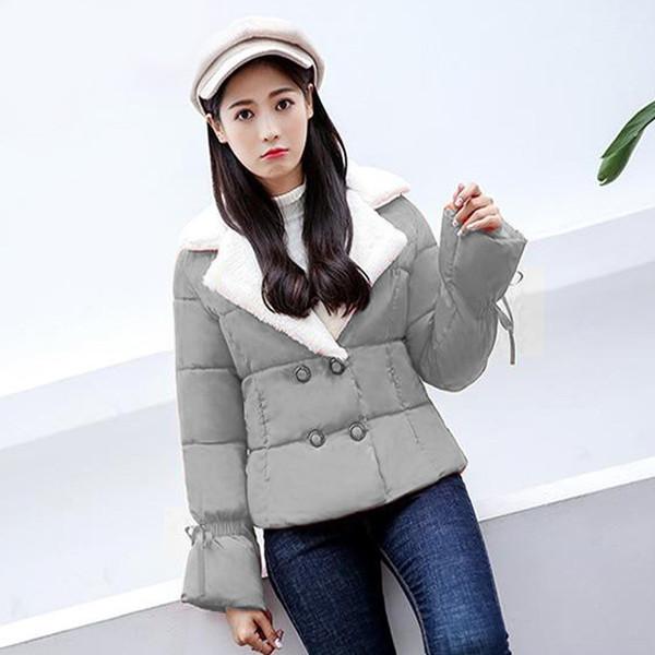 Осенние зимние женские хлопчатобумажные пальто с длинным рукавом Твердые короткие пальто Parkas Slim Warm Lace Up Coats Outwear