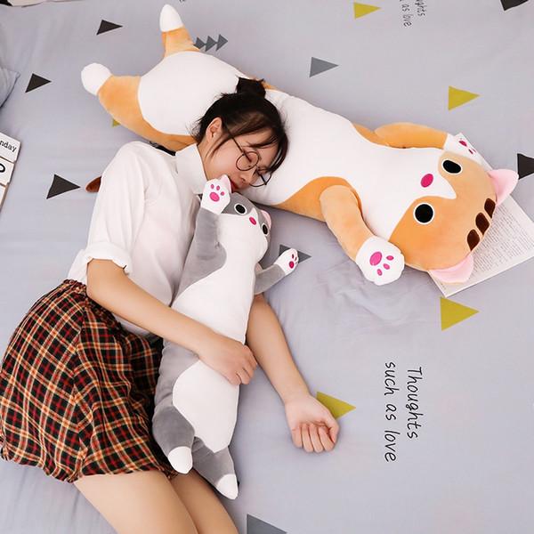 65-110cm langes Katzenkissen Plüschtier weiches Kissen Kuscheltier Puppe Schlaf Sofa Schlafzimmer Dekor Kawaii Geburtstagsgeschenk