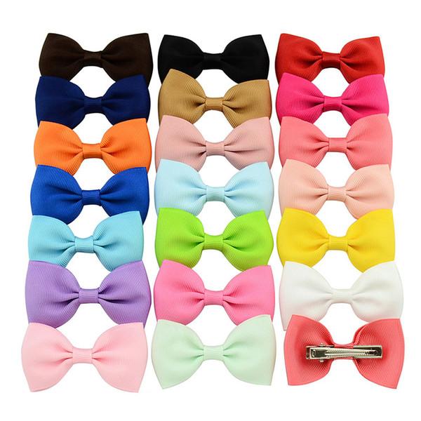 20 Pcs/lot Newborn Colorful Barrettes Boutique Grosgrain Ribbon Hairpins Children Hair Accessories Cute Girls Hair Clip Bows