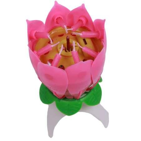 Hot 1PC/lot Birthday Candle Blossom Lotus Flower Candles Party Cake Music Sparkle Cake Topper Candle QB670976