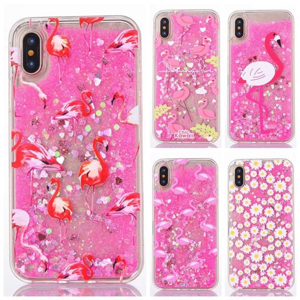 Daisy Flamingo glitter quicksand flowing liquid pc hard case for iphone X 8 plus 7 plus