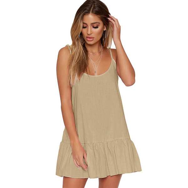 Women Mini Dress Solid Color Spaghetti Strap Sleeveless Strappy Dress Ruffle Hemline Backless Casual Party Wear Dress Vestidos