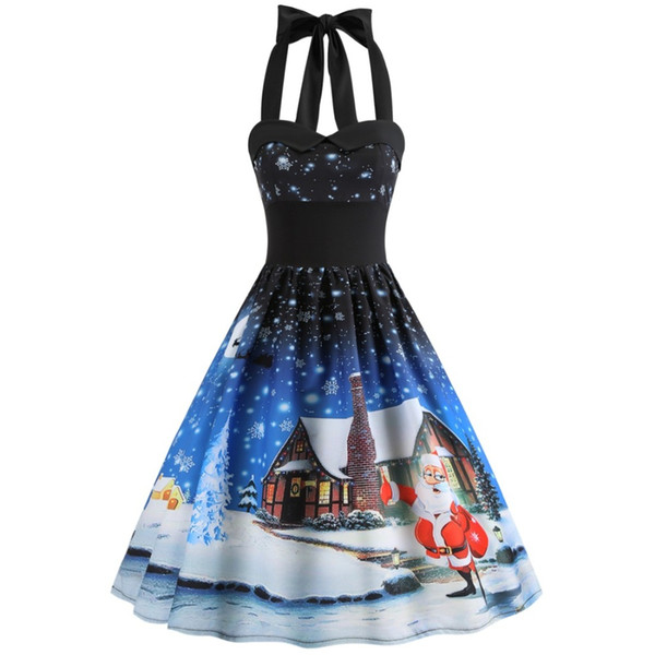 S~3XL Women Dress New Sleeveless Christmas Dresses Vintage Tunic Elegant Party Dress costume Plus Size