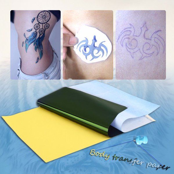 Hot 1 lot (10 Sheets) Carbon Paper Supply Temporary Tattoo Transfer Tracing Copy Body Art Stencil A4 Thermal Copier Machine
