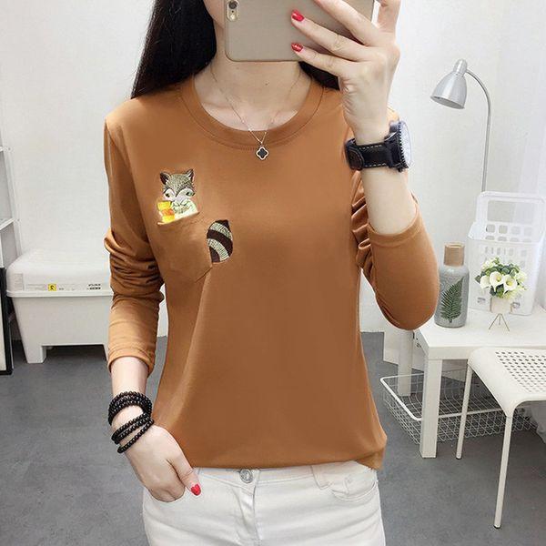 Embroidery T-shirts Women Tshirt O-neck Long Sleeve T-shirts Women Autumn Tops Tee Shirt Femme 2019 Cotton Camisetas Large Size