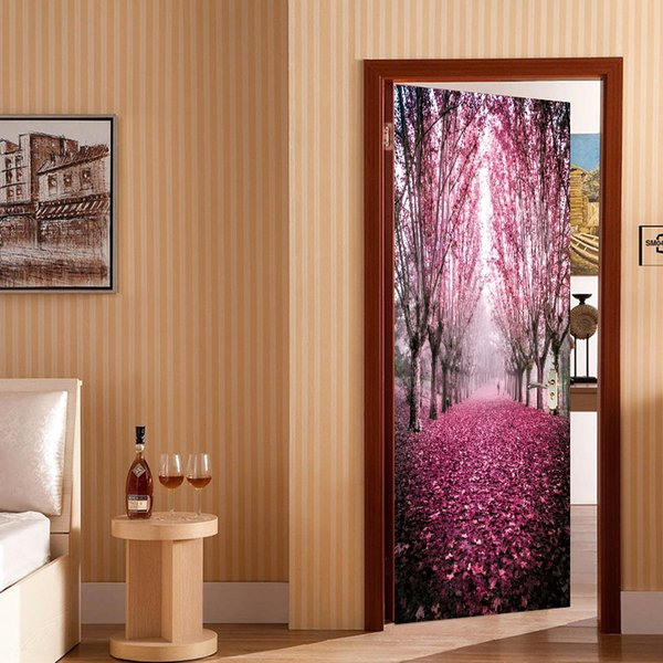 2pcs/set Creative Beautiful Maple Leaves Plant Tree 3D Door Sticker Wall Sticker Wallpaper Living Room Mural Home Decoration Art Vinyl Decal
