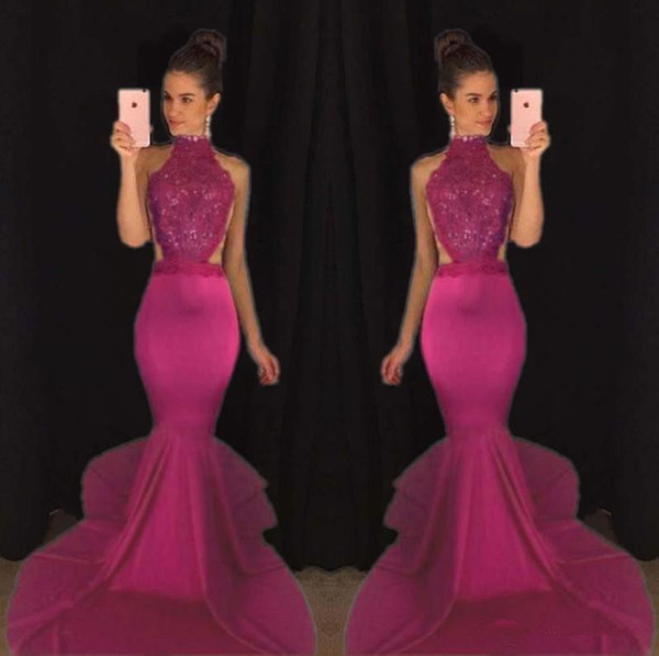 best selling 2K 17 Mermaid Top Selling Beaded Prom Dresses Sexy Backless Satin Formal Evening Gowns High Collar Girls Pageant Dress