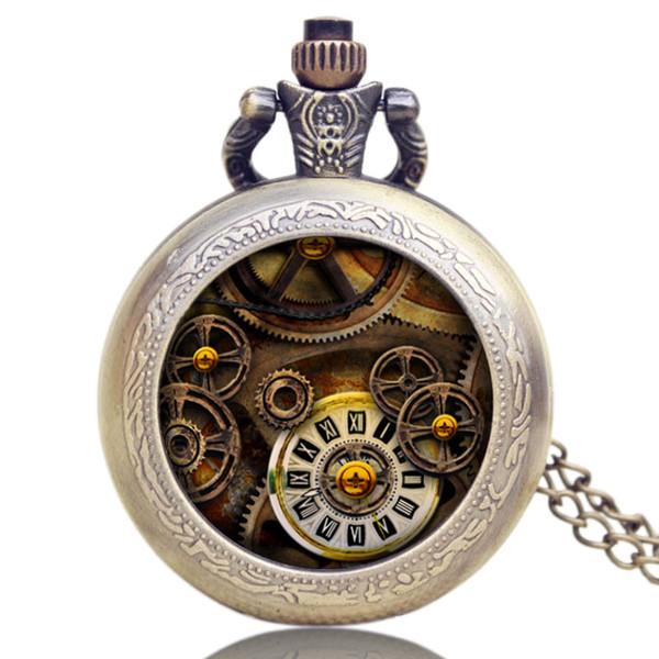 Hot Sale New Fashion Design Men's Pocket Watch, Bronze Retro Gear Small Necklace Pocket Watch, Unique Gift for Men