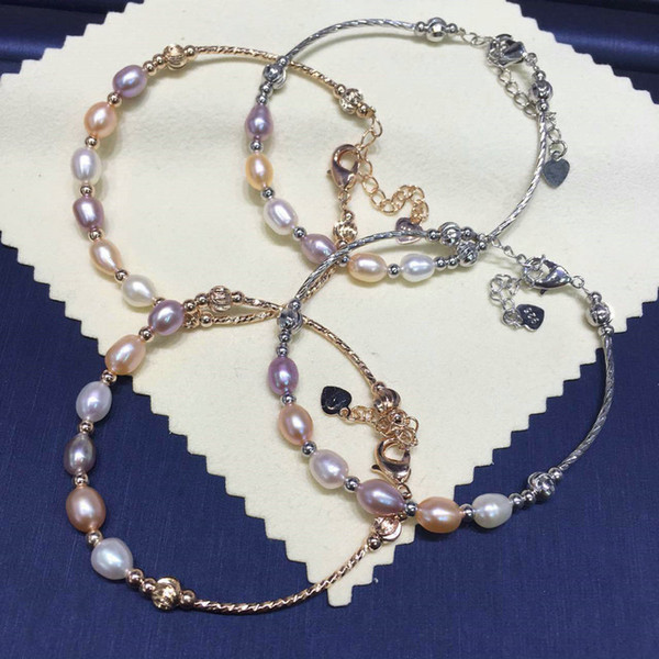 Natural Freshwater Pearl Bracelets for Wmen Girls 6-7mm Oval Pearl Jewelry Gifts 925 Silver Clasp Chain Bracelet