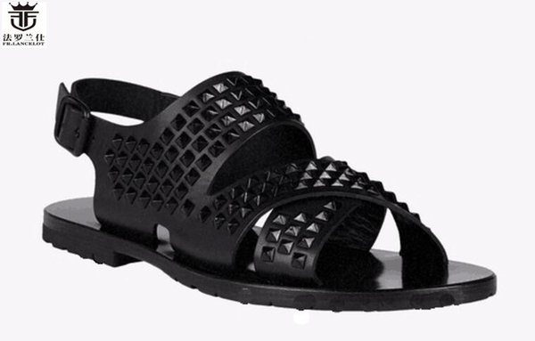FR.LANCELOT Europe new 2017 men gladiator sandal flat heel summer shoes black leather sandals spike stud thick heel causal flats