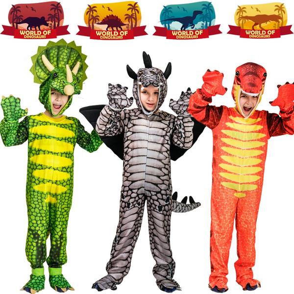 Boy's Cosplay Dinosaur Costumes Masquerade Stegosaurus/Tyrannosaurus/Triceratops Jumpsuit for Halloween &Carnival