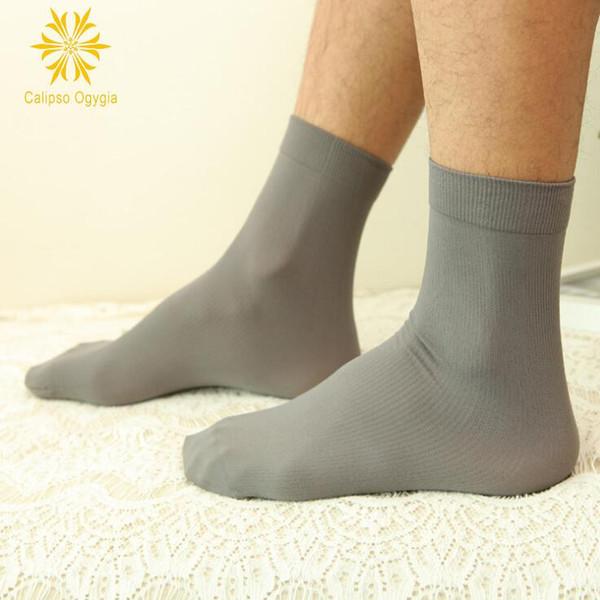 Großhandel = Ultradünne Transparente Sommer Silk Dünne Reizvolle Mann Beiläufige Schwarze Silk Socken Männliche Weiße Schwarze Graue Blaue Dünne